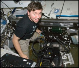 Barratt in the Destiny laboratory of the space station.