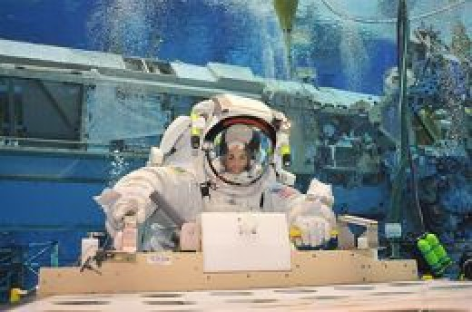 Astronaut Nicole Stott at undersea research habitat Aquarius.