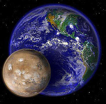 Mars, showing relative size to Earth.  More water there, too, and a possible new home for man.    photo RST website (see for mre Mars info)