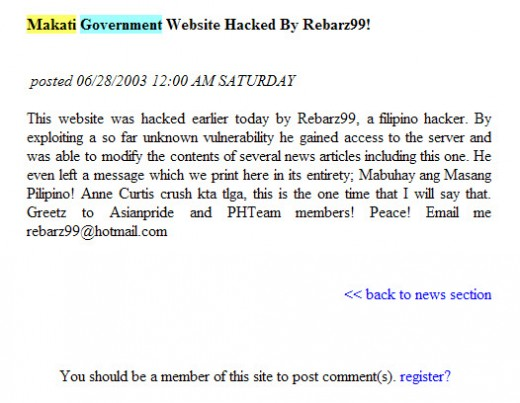 "The official website of Makati City got hacked and is still down.  I wonder why they're not doing anything to bring it back online.  The hack message say ""2003"" and it's now year 2009."