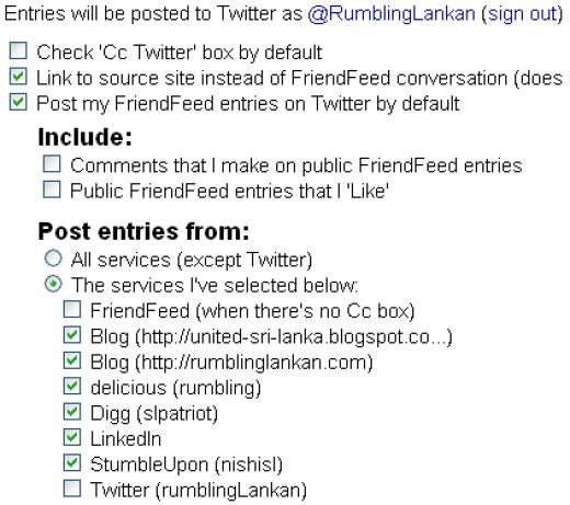 Advanced Twitter setting in FriendFeed