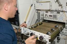 Tim Kopra in the Japanese Kiko laboratory in the space station.