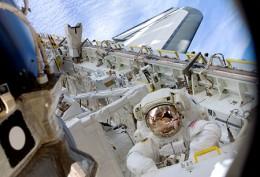 Astronaut Kopra in a space walk.
