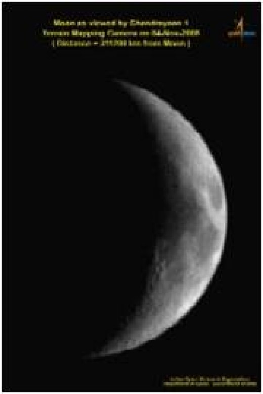 Moon as viewed by Chandrayaan-1 on 4 Nov. 2008