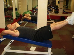 The Decline Bench Reverse Crunch start position