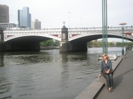 Resting on the Yarra River which flows through the middle of Melbourne.