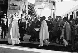 Emperor Haile Selassie arrives in Jerusalem after being forced into Exile - 1936