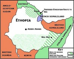 The green areas show Italian controlled Ethiopia and Somaliland before Italy declared war on the British.
