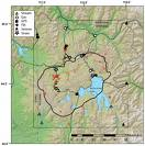 Huge super-volcano site.  Yellowstone causes concern.        geology.com photo