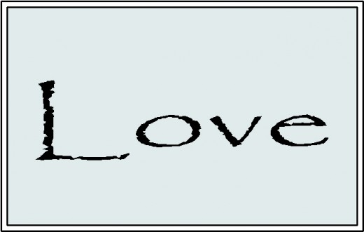 Love with Black text and boarder