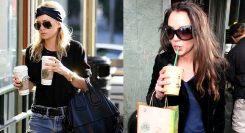 Celebrities Mary Kate Olsen and Lindsay Lohan grabbing coffee on the run.