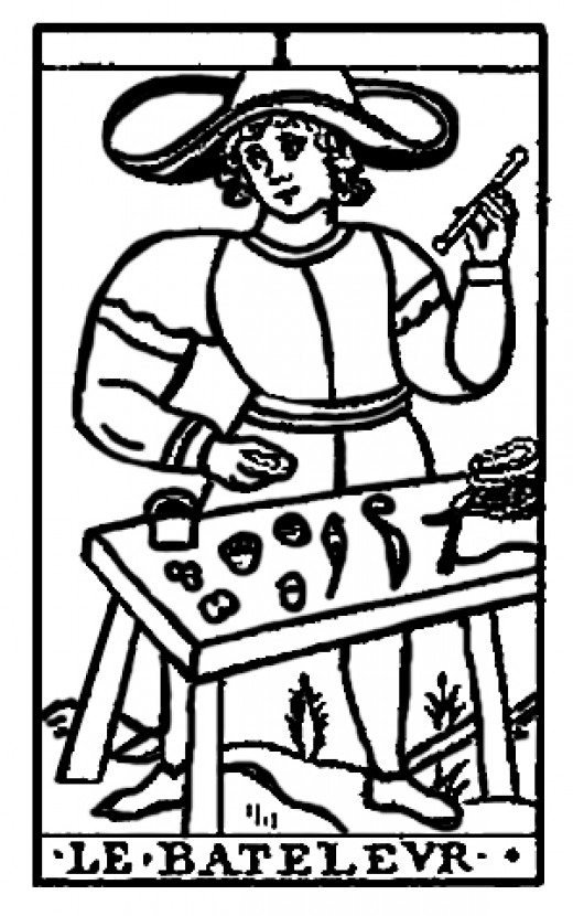 The Juggler or The Magician.  Tarot cards have often been used by psychics as a method for focussing when 'reading' people