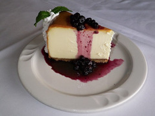 Classic cheesecake with a blueberry topping