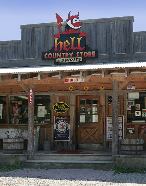 Hell Country Store and Spirits, by David Ball. [The copyright holder of this file (photo), David Ball, allows anyone to use it for any purpose, provided that the copyright holder is properly attributed.]