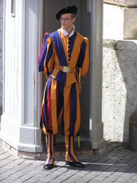 Pope's security - the Swiss Guard - uniforms designed by Michelangelo