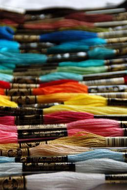 There are as many colors of embroidery thread as there are in the rainbow!