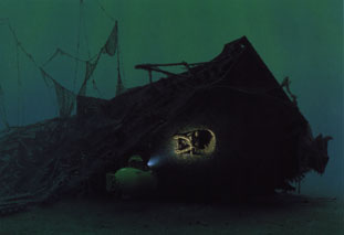 A photo of the Lusitania at the bottom of the ocean