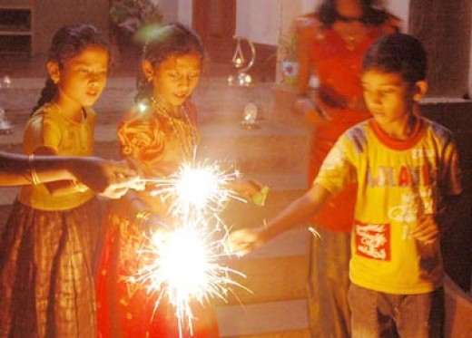children enjoying the firing of crackers.