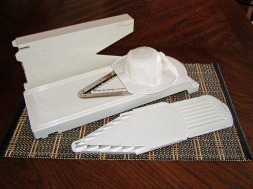 A mandoline is indispensable in the kitchen. A Borner V-slicer is inexpensive, but sturdy.