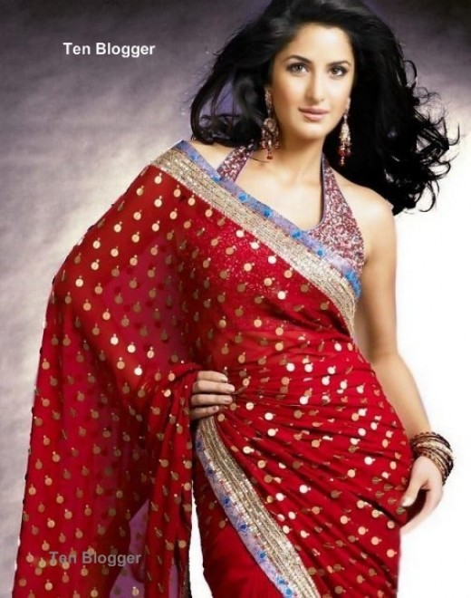 Katirna kaif Red saree