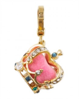 Crown Charm, Pink  Goldtone with pink velvet interior. Multicolor rhinestone accents. Lobster clasp with signature crown logo. Imported. Store Style Number: YJRU3178.  NM Style #: JCF10_Y0ARA  $52.00