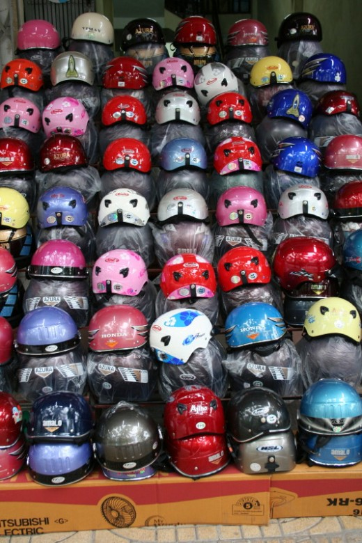 Helmets ready for sale in Ninh Binh town