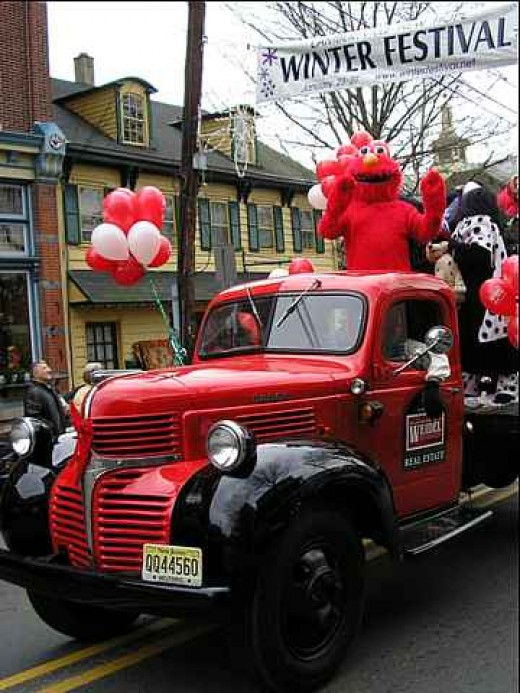 Antique truck and Elmo