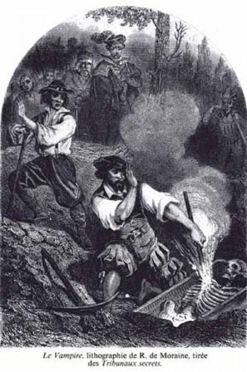 Le Vampire, engraved by R. de Moraine in 1864