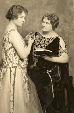 Helen Keller & Annie Sullivan during lecture tour in 1920.