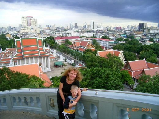 Mr Nine took our picture from our hotel balcony in Bangkok. In 1782 Bang Makok or 'Place of Olives' became Thailand's capital.