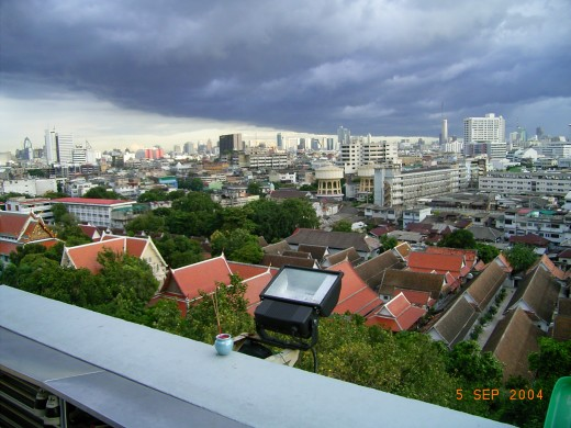 Bangkok before the monsoon rain from our hotel window. 'Place of Olives' or Bang Makok, later Bangkok had been a trading post since the mid-16th century.