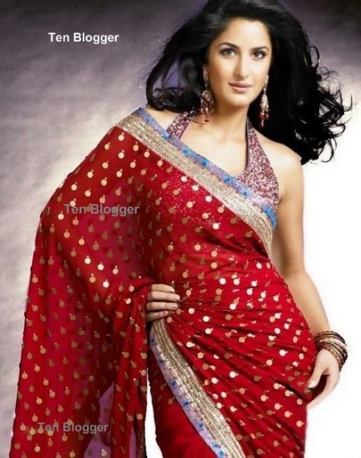 Katrina Kaif in Rich red saree with golden dots.