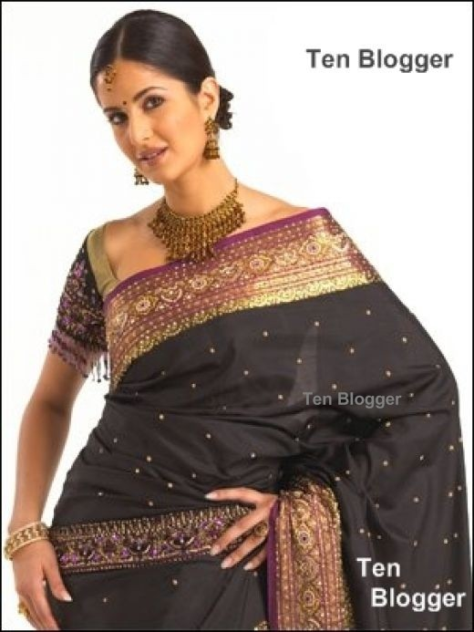 Katrina Kaif Black Saree with purple border and matching necklace