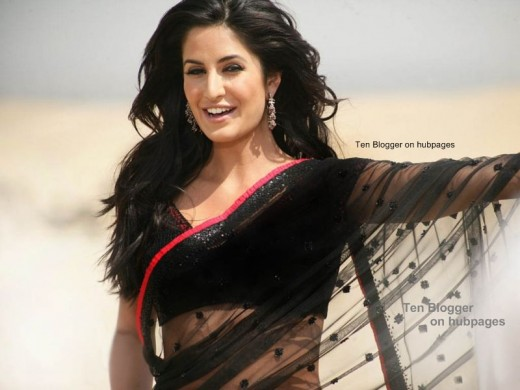Katrina looks cool in the black sarees (casual wear )