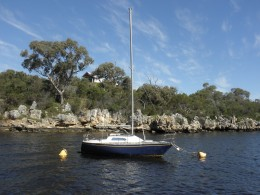 Our yacht is waiting for us and we can start sailing again. Back home on the Swan River in Perth.