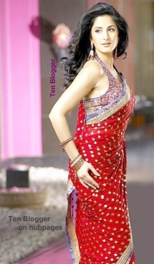 Katrina Kaif in Rich red saree with golden dots