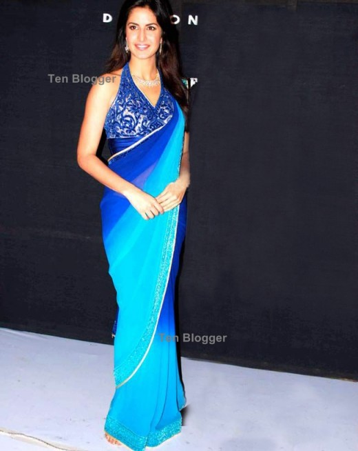 Katrina in the blue saree are the contemporary sarees or modern style