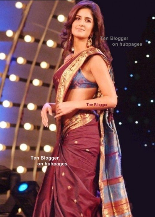Kat Kaif in Maroon saree with a hint of gold and blue