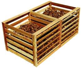 wooden slat-style compost bin