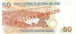 Reverse of the Nuevo Sol, 50 bank note with a picture of Huacachina