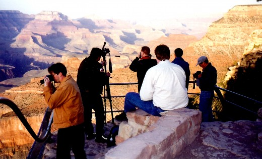 Many photos being taken from one of the overlook sites at the Grand Canyon