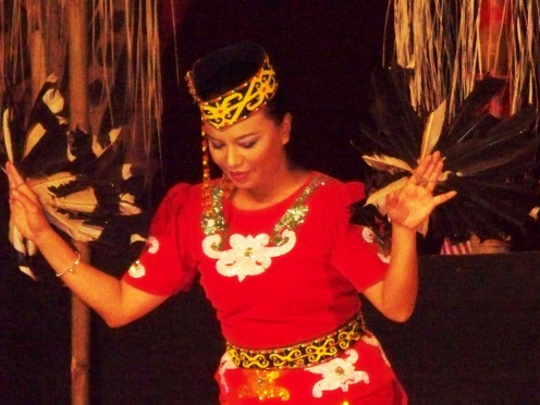 Melanau tribal dancer. Borneo, South Asia
