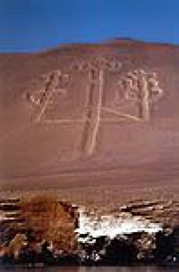 The Candelabrum figure on the side of a sandy hill.