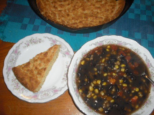 black bean soup and corn bread
