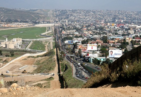 Notice densely populated Tijuana on the right anmd San Diego on the left.