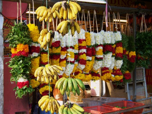 Hindu offerings of fruit and flowers. Malaysia