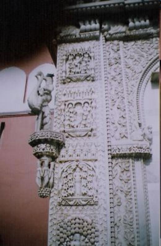 Fine carvings on the 'Rat temple' at Deshnuk