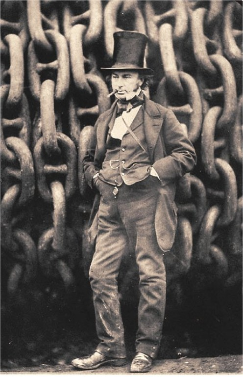 Brunel in front of the launching chains for the Great Eastern. It was rumoured he smoked up to 40 cigars a day.