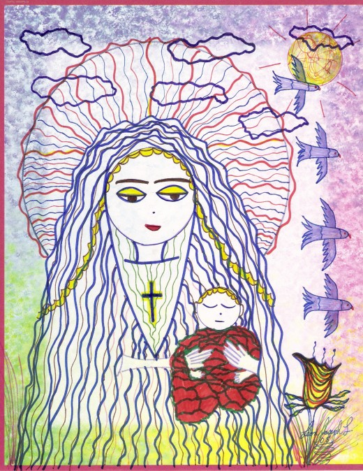 The Mother of God, and Baby Jesus. My drawing. GBY