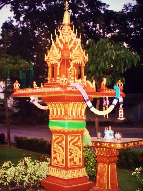 Thai spirit houses provide living quarters for the spirits displaced when a house is built